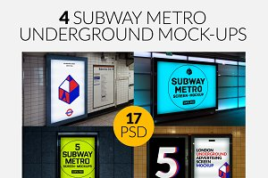4 Subway Metro Underground Mock-Ups
