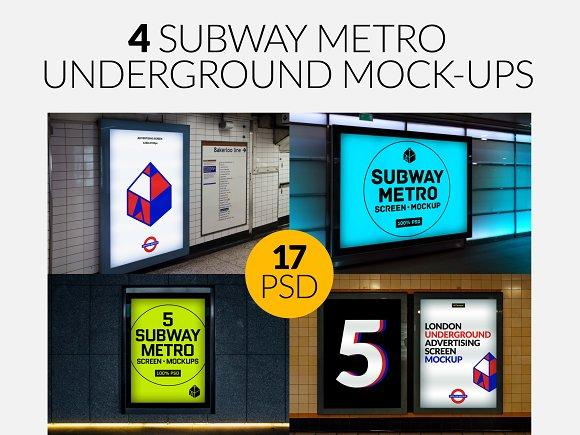 Download 4 Subway Metro Underground Mock-Ups