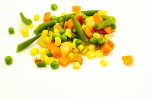 Mixed colorful vegetables. Deep depth of field.