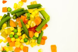 Mixed colorful vegetables. Top view.