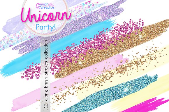 Unicorn Party Brush Strokes