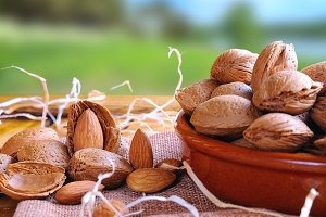 Group of almonds on a table