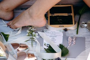 Wedding decor on a vintage bench