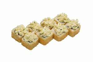 Roll-sushi baked with soft cheese.
