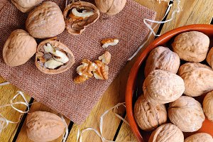 Group of  walnuts on a table top