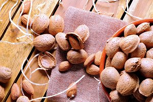 Almonds on a table in the field top