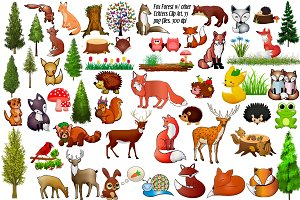 Fox Forest & Critters Clip Art