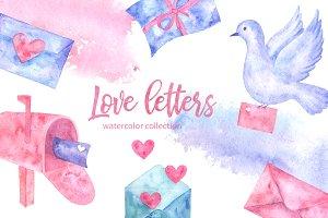 Love Letters. Watercolor set.