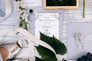 Flat lay wedding decor