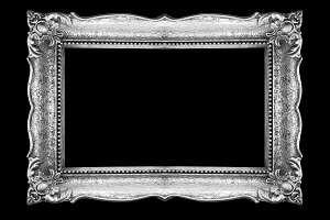 Old Silver Picture Frame on black