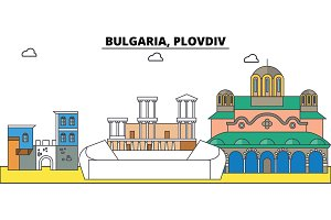 Bulgaria, Plovdiv. City skyline, architecture, buildings, streets, silhouette, landscape, panorama, landmarks. Editable strokes. Flat design line vector illustration concept. Isolated icons