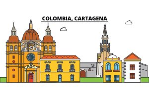Colombia, Cartagena. City skyline, architecture, buildings, streets, silhouette, landscape, panorama, landmarks. Editable strokes. Flat design line vector illustration concept. Isolated icons
