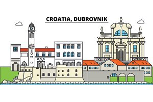 Croatia, Dubrovnik. City skyline, architecture, buildings, streets, silhouette, landscape, panorama, landmarks. Editable strokes. Flat design line vector illustration concept. Isolated icons