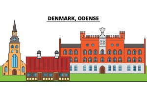 Denmark, Odense. City skyline, architecture, buildings, streets, silhouette, landscape, panorama, landmarks. Editable strokes. Flat design line vector illustration concept. Isolated icons
