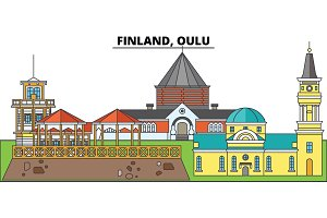 Finland, Oulu. City skyline, architecture, buildings, streets, silhouette, landscape, panorama, landmarks. Editable strokes. Flat design line vector illustration concept. Isolated icons