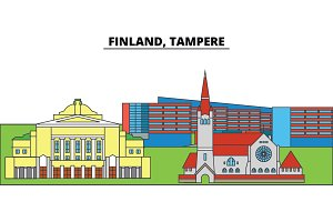 Finland, Tampere. City skyline, architecture, buildings, streets, silhouette, landscape, panorama, landmarks. Editable strokes. Flat design line vector illustration concept. Isolated icons
