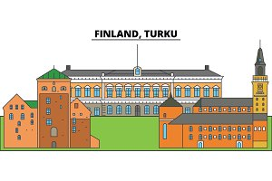 Finland, Turku. City skyline, architecture, buildings, streets, silhouette, landscape, panorama, landmarks. Editable strokes. Flat design line vector illustration concept. Isolated icons