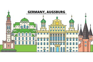 Germany, Augsburg. City skyline, architecture, buildings, streets, silhouette, landscape, panorama, landmarks. Editable strokes. Flat design line vector illustration concept. Isolated icons