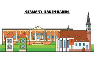 Germany, Baden Baden. City skyline, architecture, buildings, streets, silhouette, landscape, panorama, landmarks. Editable strokes. Flat design line vector illustration concept. Isolated icons