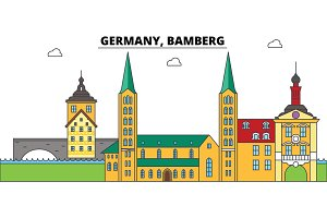 Germany, Bamberg. City skyline, architecture, buildings, streets, silhouette, landscape, panorama, landmarks. Editable strokes. Flat design line vector illustration concept. Isolated icons