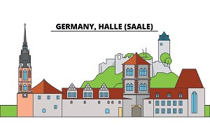 Germany, Halle, Saale. City skyline, architecture, buildings, streets, silhouette, landscape, panorama, landmarks. Editable strokes. Flat design line vector illustration concept. Isolated icons