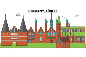 Germany, Lubeck. City skyline, architecture, buildings, streets, silhouette, landscape, panorama, landmarks. Editable strokes. Flat design line vector illustration concept. Isolated icons