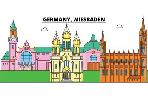 Germany, Wiesbaden. City skyline, architecture, buildings, streets, silhouette, landscape, panorama, landmarks. Editable strokes. Flat design line vector illustration concept. Isolated icons