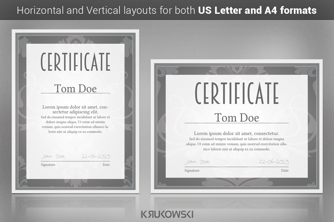 Solid certificate template stationery templates creative market xflitez Gallery