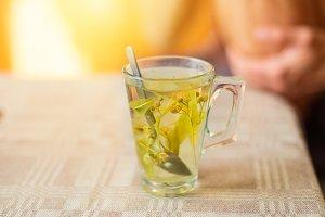 Linden tea in glass cup