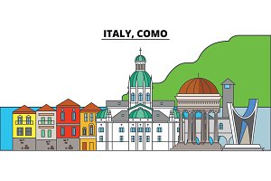 Italy, Como. City skyline, architecture, buildings, streets, silhouette, landscape, panorama, landmarks. Editable strokes. Flat design line vector illustration concept. Isolated icons
