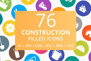 76 Construction Filled Round Icons