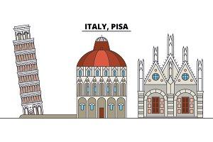 Italy, Pisa. City skyline, architecture, buildings, streets, silhouette, landscape, panorama, landmarks. Editable strokes. Flat design line vector illustration concept. Isolated icons