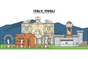 Italy, Tivoli. City skyline, architecture, buildings, streets, silhouette, landscape, panorama, landmarks. Editable strokes. Flat design line vector illustration concept. Isolated icons