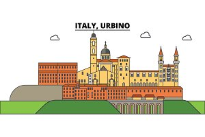 Italy, Urbino. City skyline, architecture, buildings, streets, silhouette, landscape, panorama, landmarks. Editable strokes. Flat design line vector illustration concept. Isolated icons