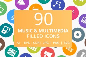 90 Music & Media Filled Round Icons