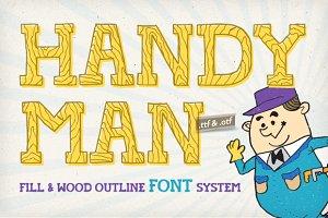 Handyman Font + Wood Outline