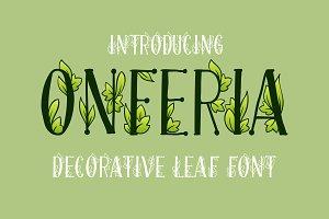 Onferia - decorative leaf font
