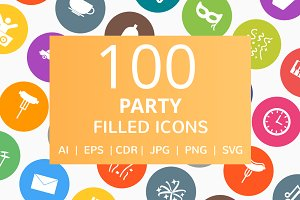 100 Party Filled Round Icons