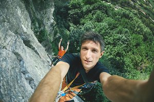 man climber make selfie