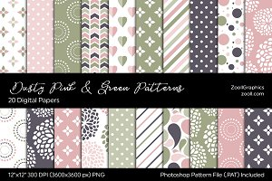 Dusty Pink & Green Digital Papers
