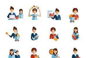 Businesswoman mother icons set