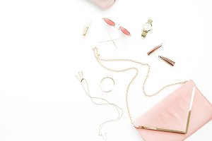 Pink female fashion accessories