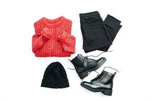 Warm winter feminine clothes