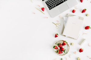 Workspace with strawberries