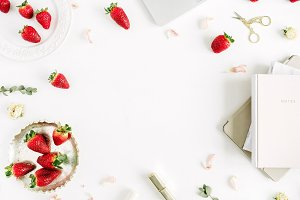 Workspace frame with strawberry