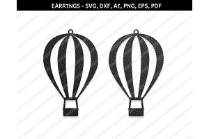 Hot air balloon earrings svg,dxf,eps