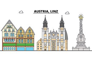 Austria, Linz. City skyline, architecture, buildings, streets, silhouette, landscape, panorama, landmarks. Editable strokes. Flat design line vector illustration concept. Isolated icons