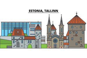 Estonia, Tallinn. City skyline, architecture, buildings, streets, silhouette, landscape, panorama, landmarks. Editable strokes. Flat design line vector illustration concept. Isolated icons