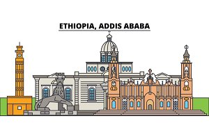 Ethiopia, Addis Ababa. City skyline, architecture, buildings, streets, silhouette, landscape, panorama, landmarks. Editable strokes. Flat design line vector illustration concept. Isolated icons