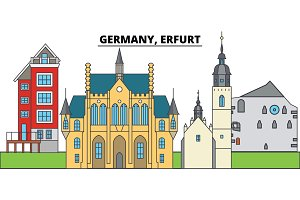 Germany, Erfurt. City skyline, architecture, buildings, streets, silhouette, landscape, panorama, landmarks. Editable strokes. Flat design line vector illustration concept. Isolated icons